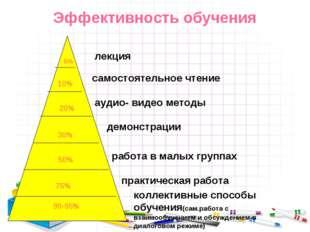 Эффективность обучения 5% 10% 20% 30% 50% 75% 90-95% лекция самостоятельное ч