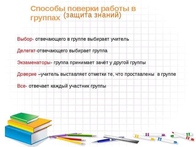 Способы поверки работы в группах Выбор- отвечающего в группе выбирает учитель...