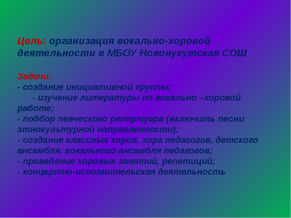 Цель: организация вокально-хоровой деятельности в МБОУ Новонукутская СОШ Зад...