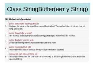 Class StringBuffer(нет у String)
