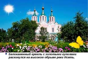 Белокаменный кремль с золотыми куполами раскинулся на высоком обрыве реки Ис