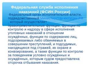 Федеральный орган исполнительной власти, подведомственныйМинистерству юстиц