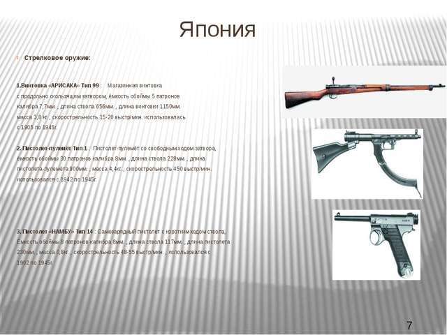 Япония Стрелковое оружие: 1.Винтовка «АРИСАКА» Тип 99 : Магазинная винтовка с...