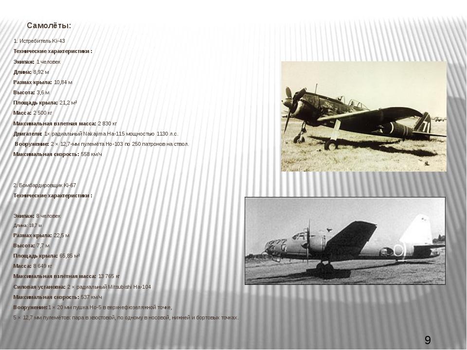 Самолёты: 1. Истребитель Ki-43 Технические характеристики : Экипаж:1 челове...