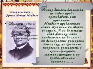 Отец генетики – Грегор Иоганн Мендель Однако диплом богослова не давал права