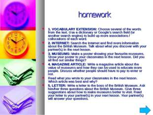 homework 1. VOCABULARY EXTENSION: Choose several of the words from the text.