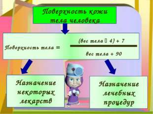 Поверхность кожи тела человека Поверхность тела = (вес тела  4) + 7 вес тел