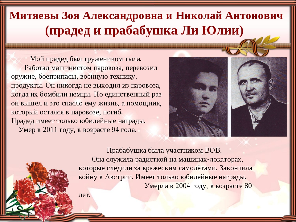 Митяевы Зоя Александровна и Николай Антонович (прадед и прабабушка Ли Юлии) М...