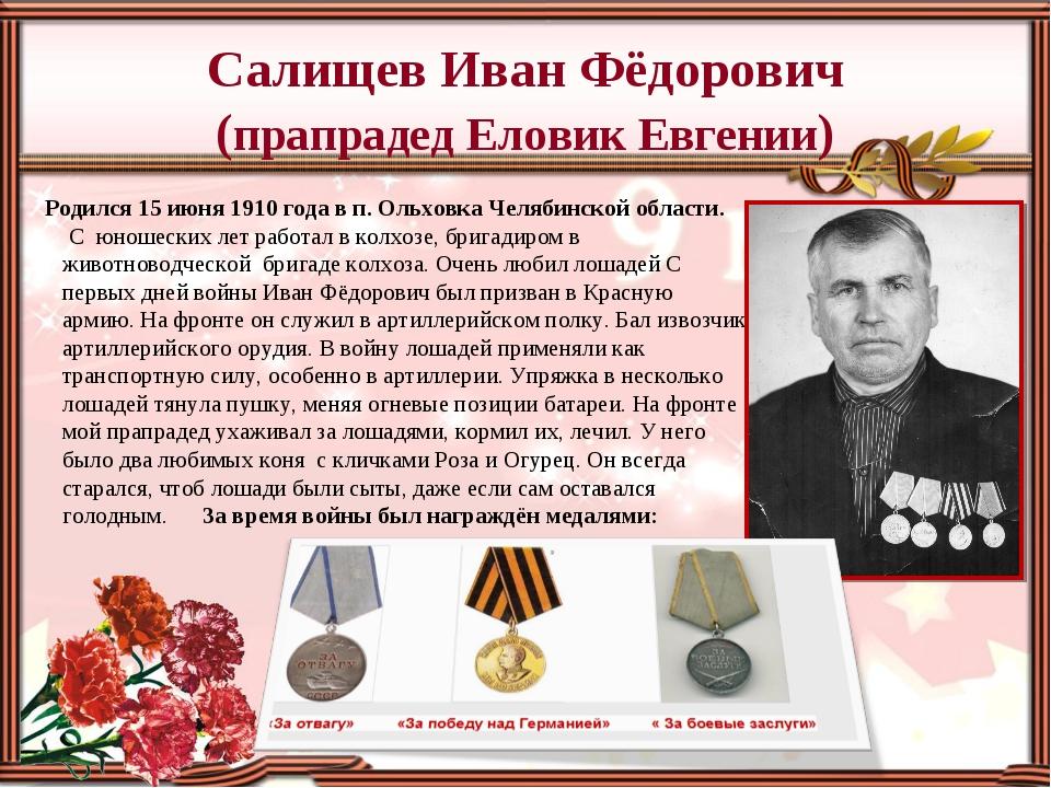 Салищев Иван Фёдорович (прапрадед Еловик Евгении) Родился 15 июня 1910 года в...