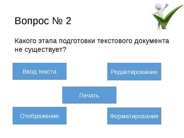 Вопрос № 4 Этап подготовки документа, начинающийся вслед за вводом информации...