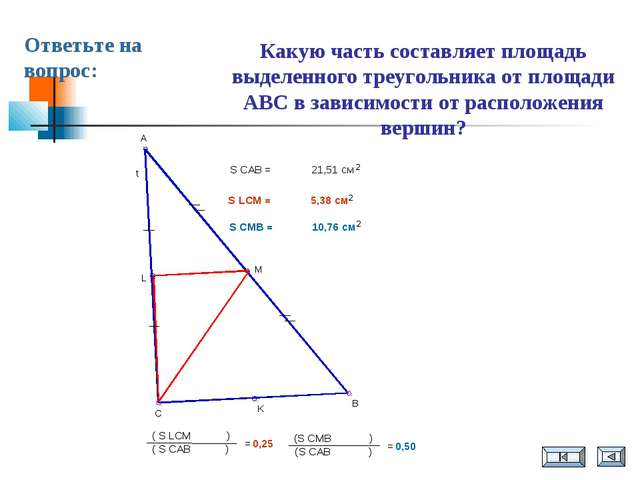 Какую часть составляет площадь выделенного треугольника от площади ABC в зави...