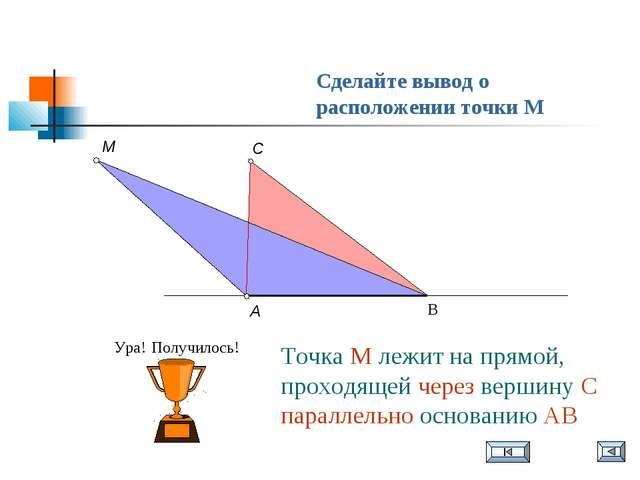 Сделайте вывод о расположении точки M Точка М лежит на прямой, проходящей чер...