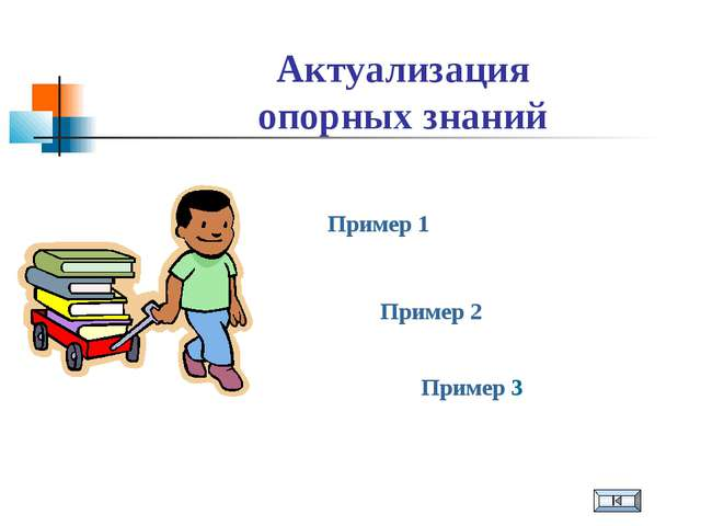 Актуализация опорных знаний Пример 1 Пример 2 Пример 3
