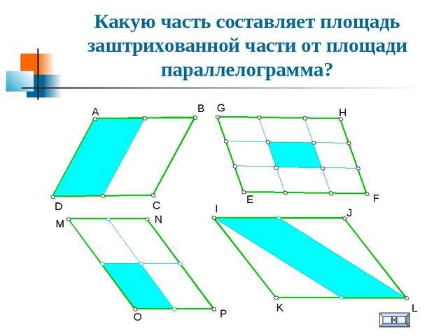 Какую часть составляет площадь заштрихованной части от площади параллелограмм...
