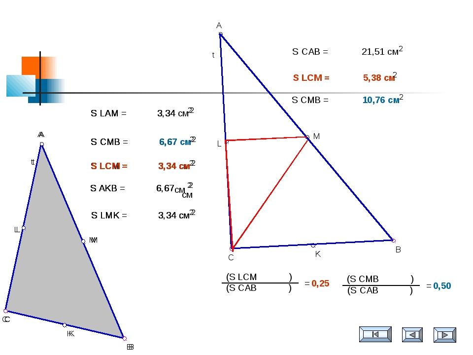 см см t B C K A M L S LAM = 3,34 см 2 S CMB = 6,67 см 2 S LCM = 3,34 см 2 S A...