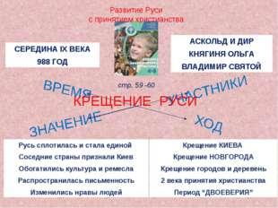 Развитие Руси с принятием христианства КРЕЩЕНИЕ РУСИ стр. 59 -60 СЕРЕДИНА IX