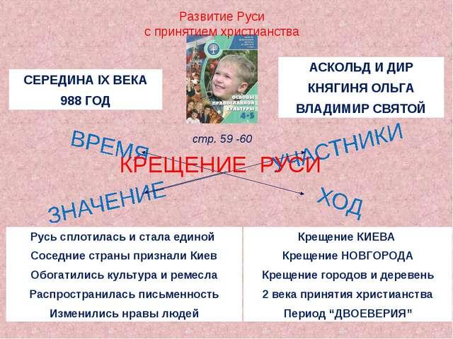 Развитие Руси с принятием христианства КРЕЩЕНИЕ РУСИ стр. 59 -60 СЕРЕДИНА IX...