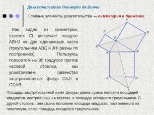 Как видно из симметрии, отрезок CI рассекает квадрат ABHJ на две одинаковые ч