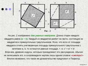 На рис. 2 изображено два равных квадрата. Длина сторон каждого квадрата равн