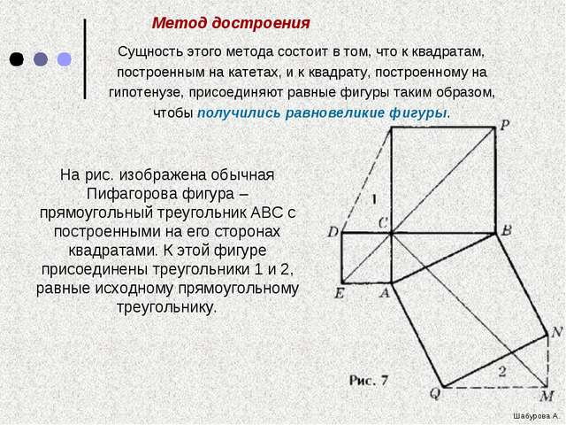 На рис. изображена обычная Пифагорова фигура – прямоугольный треугольник ABC...