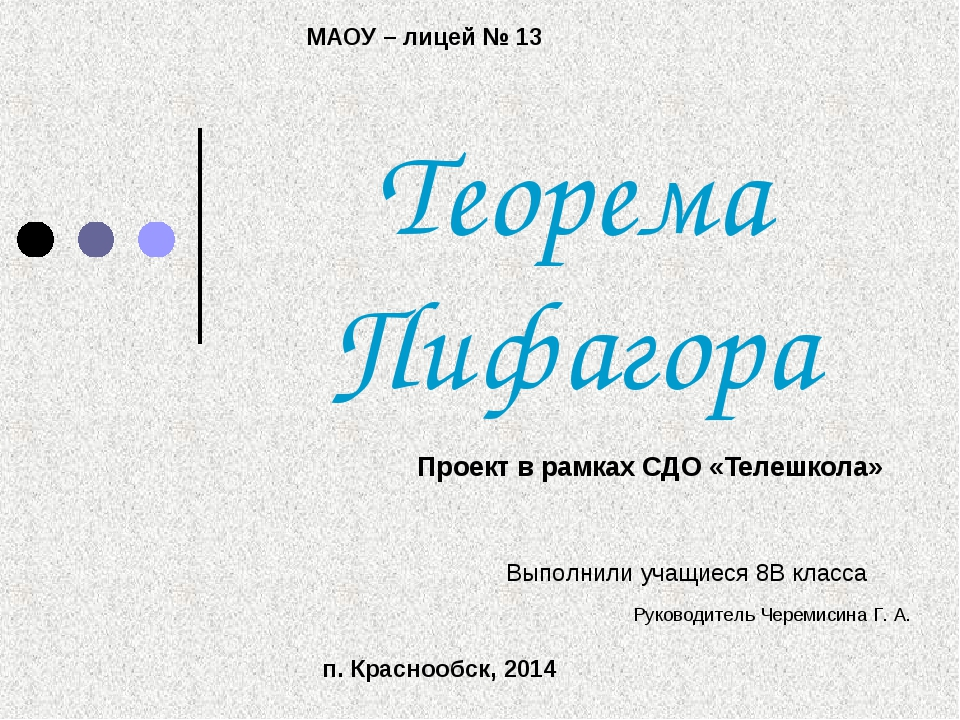 Теорема Пифагора Проект в рамках СДО «Телешкола» Выполнили учащиеся 8В класса...