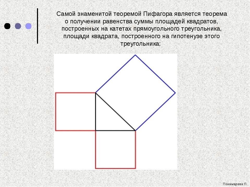 Понамарева П. Самой знаменитой теоремой Пифагора является теорема о получении...