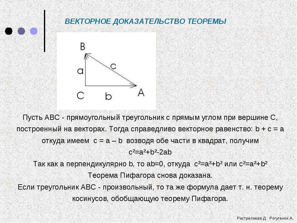 ВЕКТОРНОЕ ДОКАЗАТЕЛЬСТВО ТЕОРЕМЫ Пусть АВС - прямоугольный треугольник с прям...