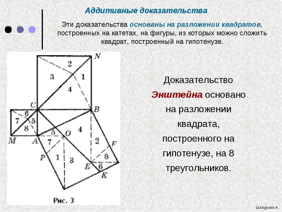 Доказательство Энштейна основано на разложении квадрата, построенного на гипо...