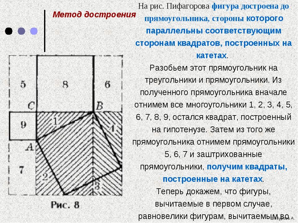 На рис. Пифагорова фигура достроена до прямоугольника, стороны которого пар...