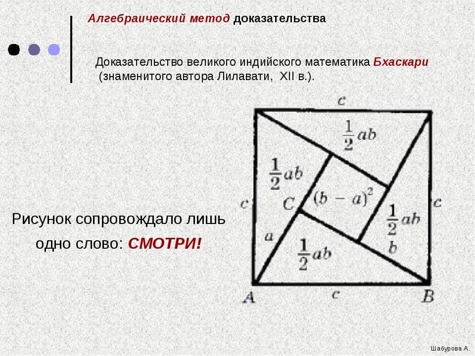 Рисунок сопровождало лишь одно слово: СМОТРИ! Алгебраический метод доказатель...