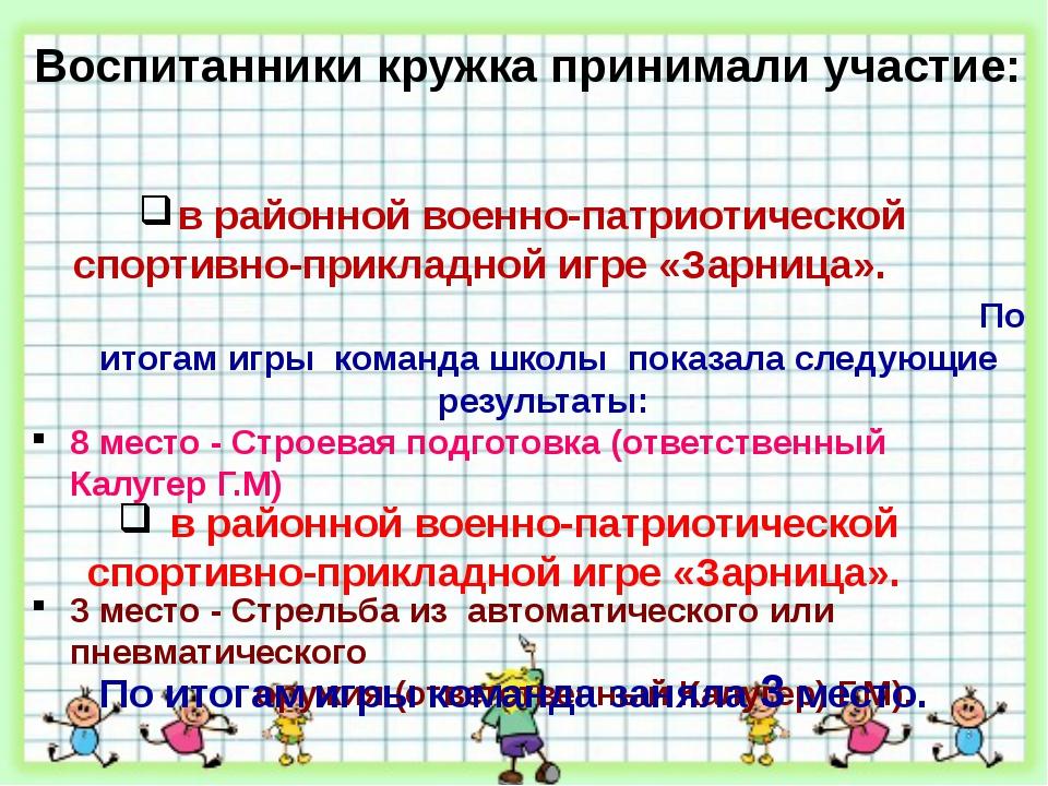 Воспитанники кружка принимали участие: в районной военно-патриотической спорт...