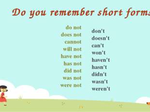 Do you remember short forms? do not does not cannot will not have not has not