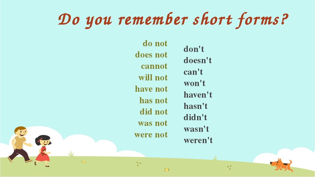Do you remember short forms? do not does not cannot will not have not has not...