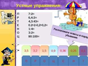 3,5 3,2 1,5 0,9 0,36 0,25 0,1 П Р О Ц Е Н Т Расположите ответы в порядке убыв