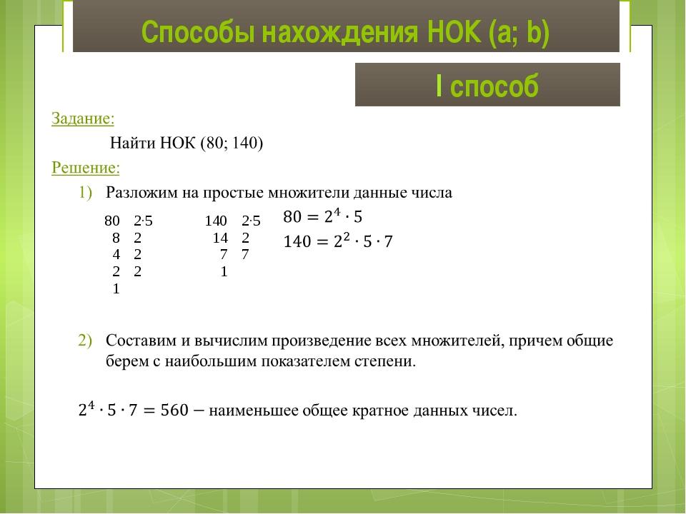 Способы нахождения НОК (a; b) I способ 80 8 4 2 1 2∙5 2 2 2 140 14 7 1 2∙5 2 7