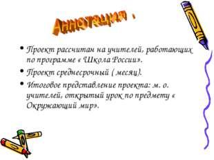 Проект рассчитан на учителей, работающих по программе « Школа России». Проект