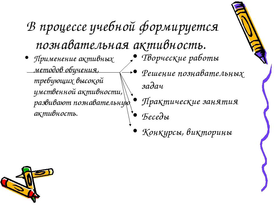 В процессе учебной формируется познавательная активность. Применение активных...