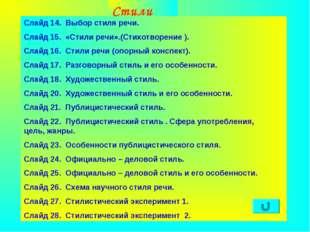 Агафонова Е.Е. Стили речи Слайд 14. Выбор стиля речи. Слайд 15. «Стили речи».