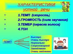 Агафонова Е.Е. ХАРАКТЕРИСТИКИ устной речи 1.ТЕМП (скорость) 2.ГРОМКОСТЬ (сила