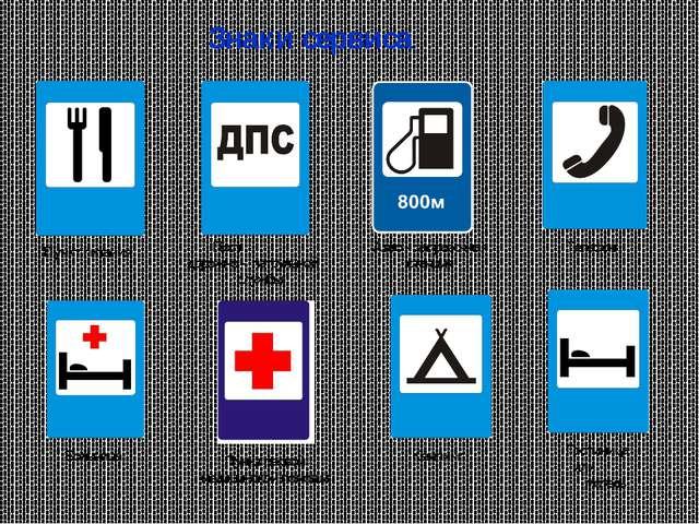 Знаки сервиса Пункт питания Пост дорожно – патрульной службы Авто – заправочн...