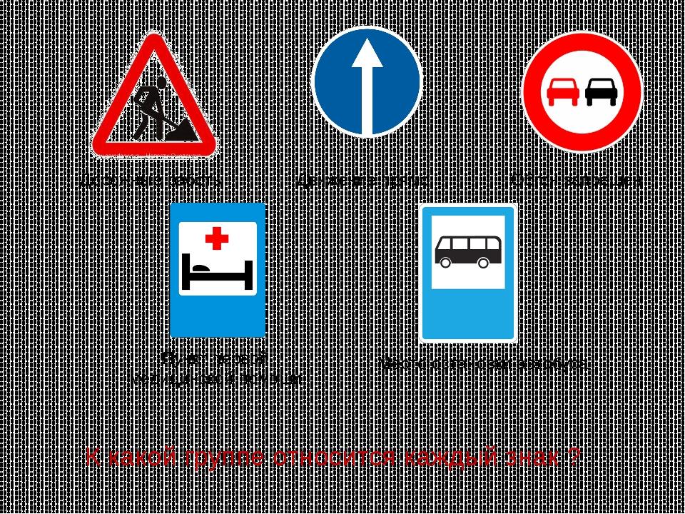 Дорожные работы Обгон запрещен Пункт первой медицинской помощи Место остановк...