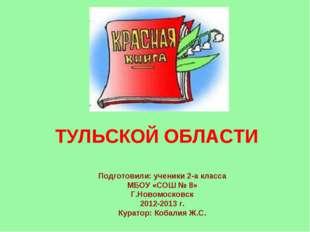 ТУЛЬСКОЙ ОБЛАСТИ Подготовили: ученики 2-а класса МБОУ «СОШ № 8» Г.Новомосков