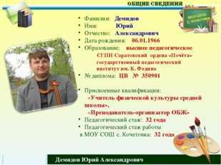 Фамилия: Демидов Имя: Юрий Отчество: Александрович Дата рождения: 06.01.1966