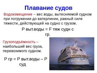 Плавание судов Водоизмещение – вес воды, вытесняемой судном при погружении до