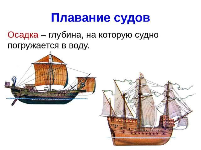 Плавание судов Осадка – глубина, на которую судно погружается в воду.