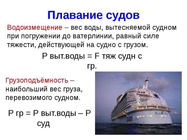 Плавание судов Водоизмещение – вес воды, вытесняемой судном при погружении до...