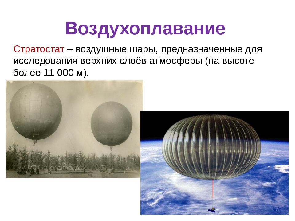 Воздухоплавание Стратостат – воздушные шары, предназначенные для исследования...