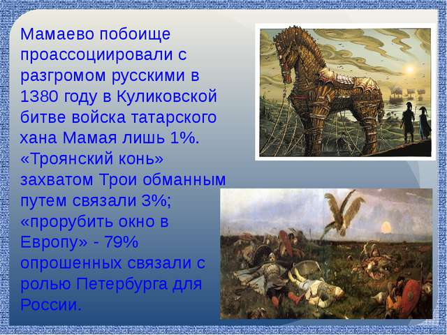 Мамаево побоище проассоциировали с разгромом русскими в 1380 году в Куликовс...