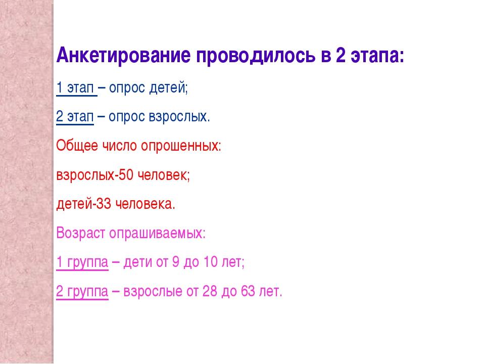 Анкетирование проводилось в 2 этапа: 1 этап – опрос детей; 2 этап – опрос взр...