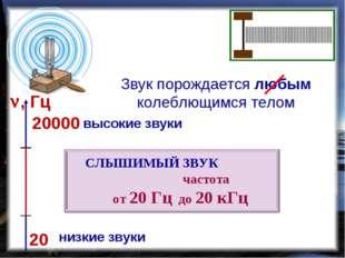 Звук порождается любым колеблющимся телом 20 20000 , Гц низкие звуки высокие